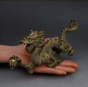 Chinese Fengshui Bronze Zodiac Year Dragon Dragons Animal Hold Bead Statue