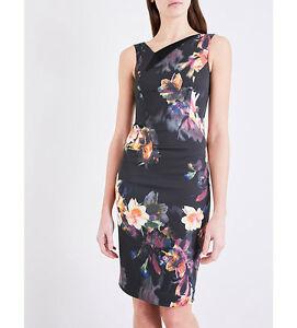 e119dc89d0e Womens Karen Millen Floral Orchid Print Satin Pencil Bodycon Dress ...