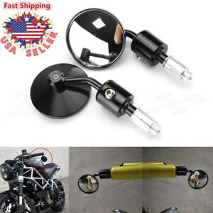 Universal-CNC-Handle-Bar-End-Round-Rear-View-Side-Mirrors-7-8-034-Custom-Motorcycle