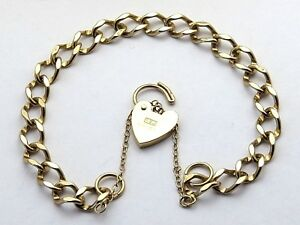 9ct 9k 375 Gold Bracelet With Padlock and Safety Chain - Hallmarked ... fbc26a83d5e4