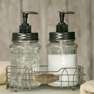 Hoosier Caddy With Soap & Lotion Dispensers - Metal & Glass - Kitchen Bath  801106142522 | eBay