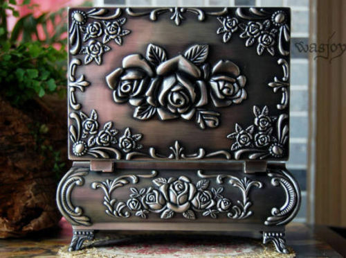 Classical Gothic style Metal Jewelry Storage Box Flower Rose for Princess