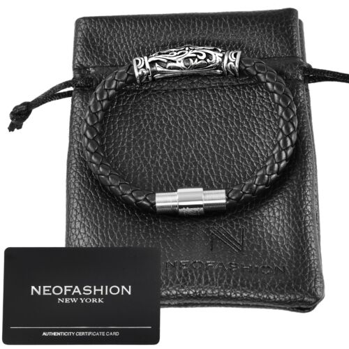 Men's Black, 100% PREMIUM NAPPA LEATHER Braided DY Style Bracelet RETAIL $150