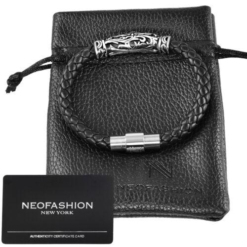 $150 100/% PREMIUM NAPPA LEATHER Braided DY Style Bracelet RETAIL Men/'s Black