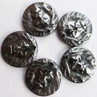 5Pcs Carved Black Hematite Lion's Head Pendant Bead 25x5mm TS5