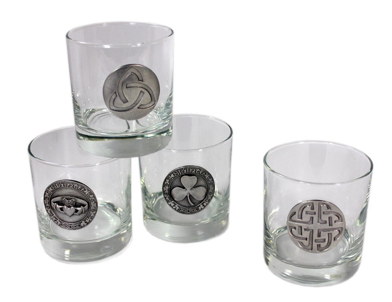 New Celtic Whiskey Glasses Pewter Celtic Symbol 4 Set Robert Emmet Company