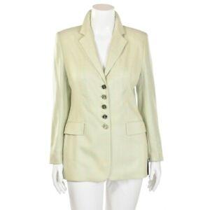 Escada-Mint-Green-amp-Orchid-Pink-Plaid-100-Cashmere-Jacket-Blazer-size-40-10-US