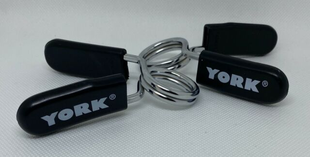 2 YORK BARBELL SPRING LOCK CLAMP COLLAR CLIPS CLAMPS FOR GYM WEIGHT DUMBBELL