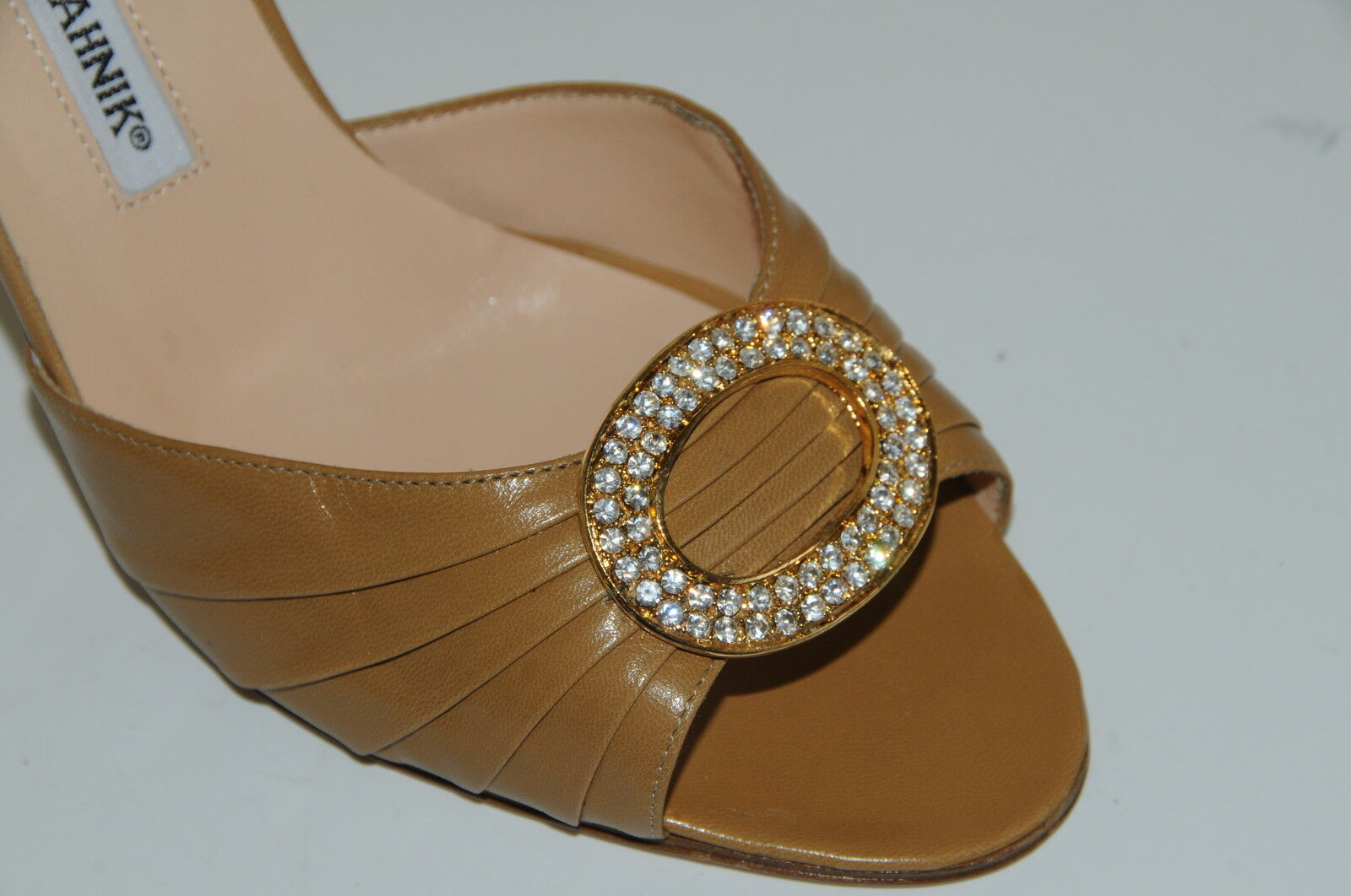 775 New MANOLO BLAHNIK SEDARABY camel beige leather jeweled SHOES 38.5 8.5 8