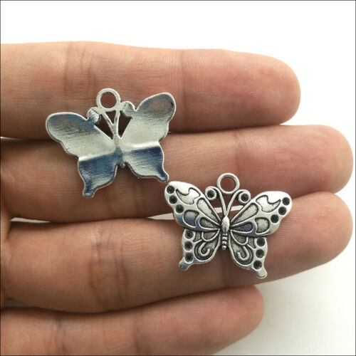 20//50pcs Jewelry DIY Butterfly Animal Antique Silver Charms Pendants 19*25mm