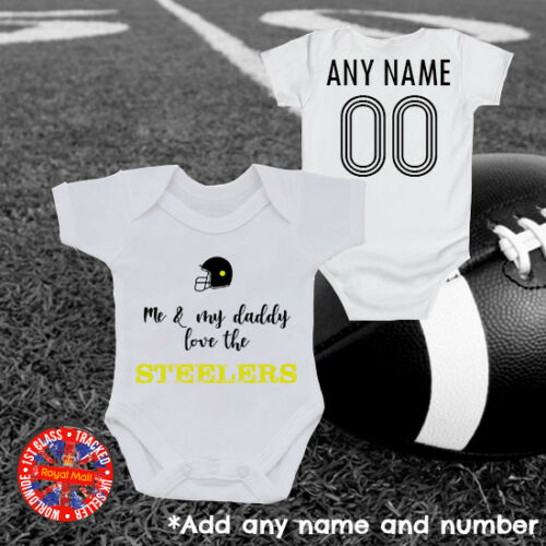 "Steelers /""Me /& My Daddy/"" Baby Grow Gift USA America"