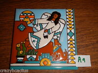 Ceramic Tile 6x6 Bird Christmas Southwestern Angel Scene Hand Painted A9