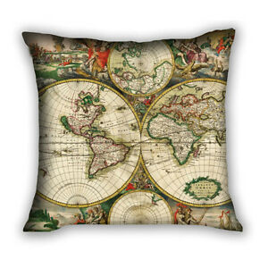 Hot vintage world map pillow case waist cushion cover square home image is loading hot vintage world map pillow case waist cushion gumiabroncs Image collections