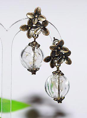 Pusteblume +++ Ohrringe Ohrhänger Pusteblumen ++ Glaskugeln bronze Ohrstecker