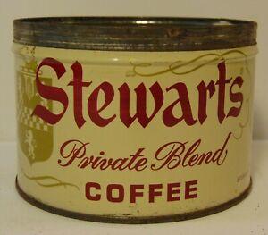 Old-Vintage-1962-Stewart-Stewarts-GRAPHIC-COFFEE-TIN-ONE-POUND-Chicago-Illinois