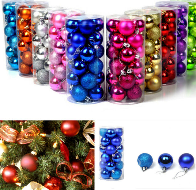 24Pcs Baubles Decor Balls Glitter Ornament Hanging Christmas Xmas Tree