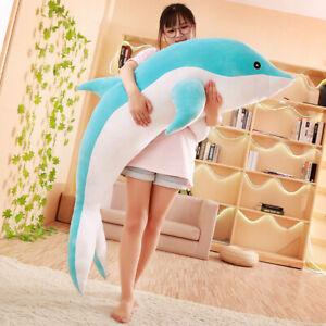 Plush-Dolphin-Toy-Soft-Stuffed-Sea-Animal-Sleeping-Pillow-Birthday-Kids-Gift-New