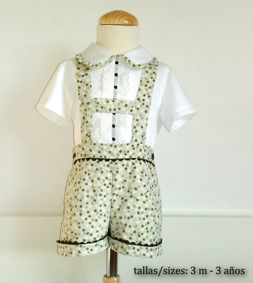 PAPER Printed SEWING PATTERN Baby Boy shorts with H straps SPANISH Classic STYLE