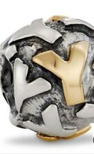 Retired PANDORA Twotone INITIAL Y Bead CHARM 790298Y Sterling Silver & 14k