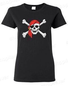 Jolly Roger Skull & Crossbones Women's T-Shirt Pirate Flag Shirts