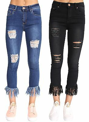 New Womens Slim Fitted Distressed Look Ripped Tassel Mom Jeans Profitieren Sie Klein