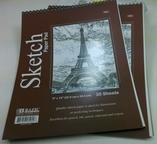 Pack of 2 Pcs Bazic 9 x 12 inch Premium Quality Sketch Paper Pad 30 Sheets//Book