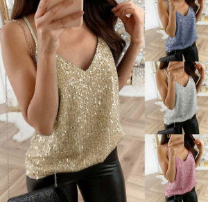 Womens-V-neck-Sequin-Vest-Tank-Summer-Fashion-Blouse-Beach-Camisole-Shirts-Tops