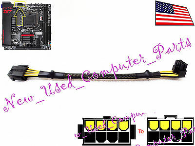 "Sleeved 4/"" Low Profile 8-Pin EPS-12V CPU Back Bend Extender CBL Adapter ➨ 11mm"