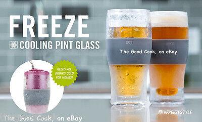 Set of 2  Host Freeze 16 oz Pilsner Pint Beer Ale Chilling Glass Keeps Beer Cold
