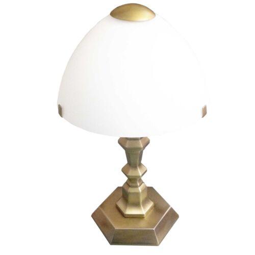 Honsel Tischleuchte Nachttischlampe Altmessing Glas weiß Flur Wohn Eß Zimmer NEU