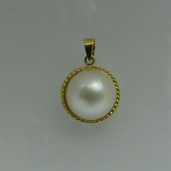 Mabe White 12.6 mm Pearl Pendant with 14K Yellow gold