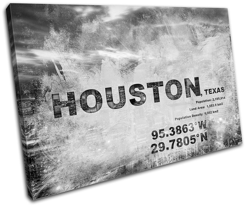 Houston Texas City Typography SINGLE TELA TELA TELA parete arte foto stampa ab6ce2