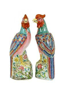 1930's 2 Chinese Export Famille Rose Porcelain Phoenix Bird Statute Marked
