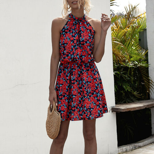 Women Sleeveless Tank Tops Dress Boho Floral Summer Holiday Sundress Size 10-20