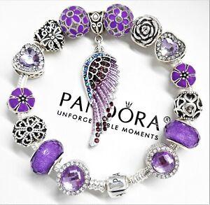 Authentic Pandora Charm Bracelet Silver Purple Angel Wing Heart European Beads Ebay