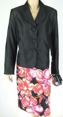 Size Skirt Flower Suit 701641561157 14 8851 New Black Evan Picone Pin Suit qp4pSw