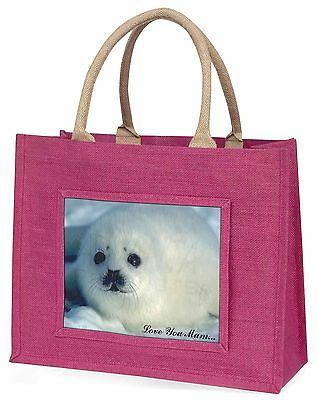 weiß See Lion 'Liebe, die Sie Mama' Große Rosa Einkaufstasche Weihnachten Pr,