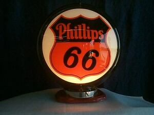Details about gas pump globe PHILLIPS 66 reproduction 2 glass faces in a  black plasic body