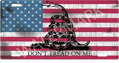 LICENSE PLATE TAG DONT TREAD ON ME Gadsden American Flag USA nra Tea Party 2nd