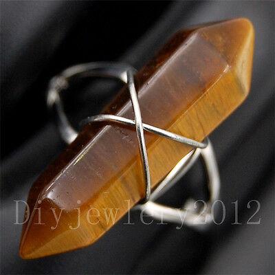 Natural Mixed Gemstones Hexagonal Ring Beads Healing Point Reiki Chakra Charm