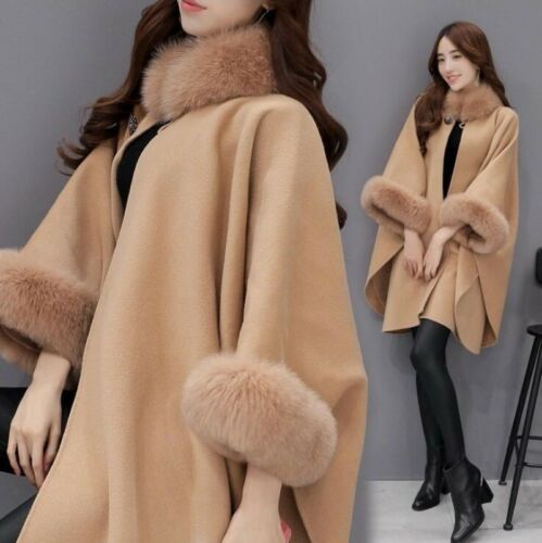 Elegant Women/'s Cashmere Real Fox Fur Cloak poncho//Coat//Wraps Winter Outwear