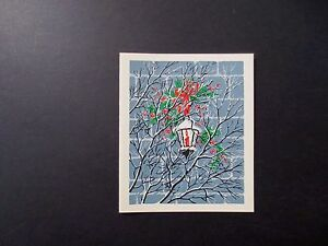 #K508- Vintage Unused Xmas Greeting Card Silk Screened Red Berries & Holly