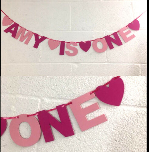 PERSONALISED GIRLS 1st BIRTHDAY BANNER Pink bunting CAKE SMASH party decoration