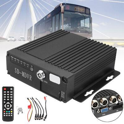 4 CH HD Vehicle Car RV Mobile DVR Realtime Video/Audio Recorder SD Card + Remote