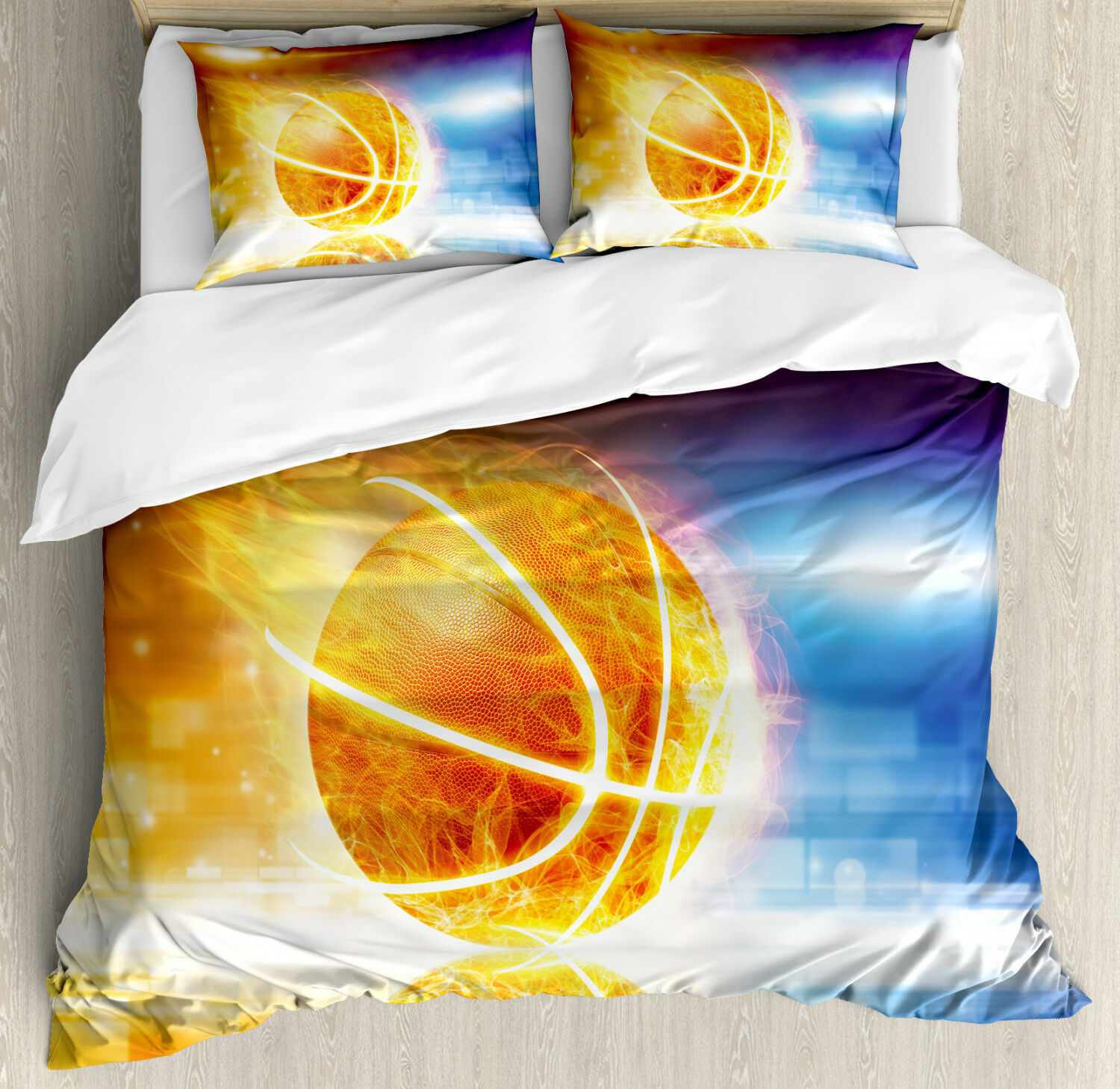 Abstract Duvet Cover Set with Pillow Shams Burning Basketball Art Print
