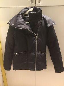 Size-XS-Adidas-SLVR-Black-Sheen-Off-Center-Puffer-Down-Jacket-With-Zipped-Hood