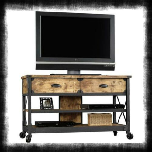 Flat TV Table Wood Metal Stand Industrial Led Panel Wheel 52 Inch Vintage Cart