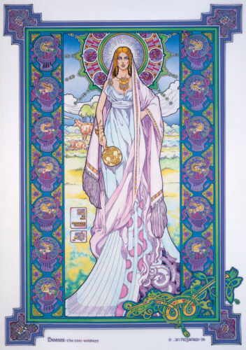 CELTIC IRISH FANTASY ART PRINT BÓANN THE COW GODDESS 8x11 By Jim FitzPatrick