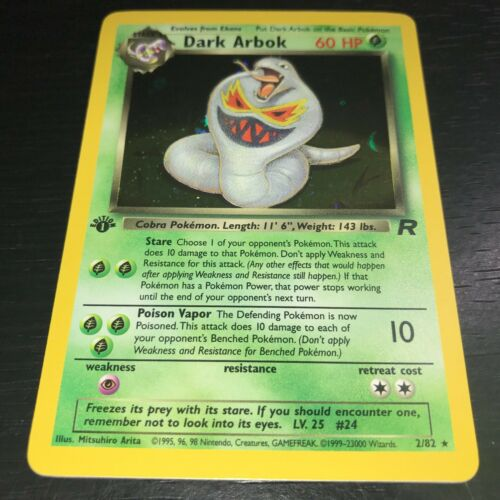 HOLO RARE CARD TEAM ROCKET POKEMON NM 1X DARK ARBOK 2//82 1ST EDITION