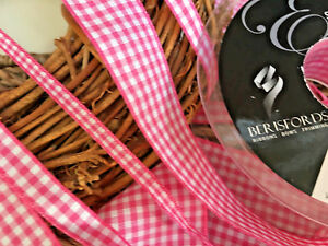 QUALITY Berisfords 7391 Gingham BLACK Colour 10 Ribbon Small Check 5mm